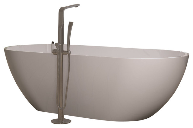 ADM White Stand Alone Solid Surface Stone Resin Bathtub Glossy Medium Mod