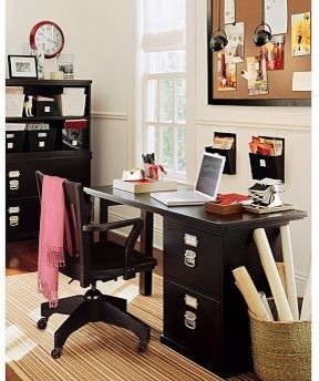 Bedford Small Desk Set, 1 Desktop & 1 3-Drawer File Cabinet, Black - Traditional - Filing ...