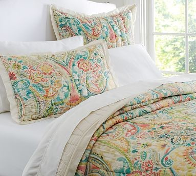 Bethany Paisley Wholecloth Voile Quilt, King/Cal. King traditional-quilts-and-quilt-sets