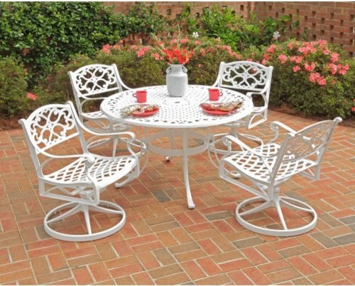 Home Styles Biscayne 48 in Swivel Patio Dining Set Seats 4 Traditional
