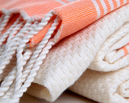 Turkish Hammam - There are orange embellished stripes as two lines on both sides of the self patterned woven bamboo towel in ecru color. Extremely soft, highly water absorbent, soft even after repeated washes. Anti-microbial and anti-bacterial.