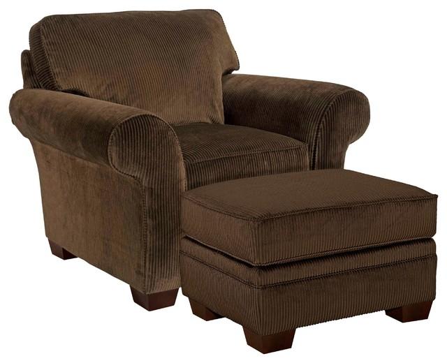 Broyhill - Zoey Dark Chocolate Corduroy Chair/ Ottoman Set - 012097-0Q ...