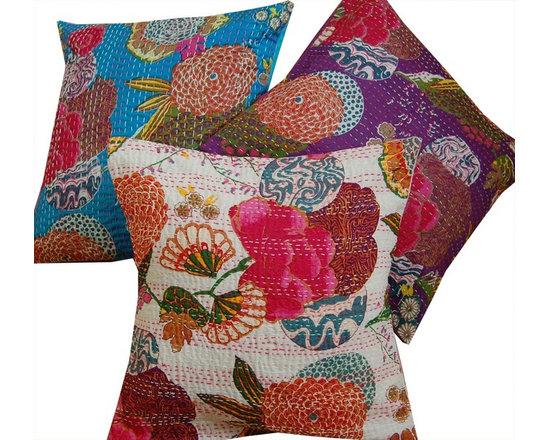 Indian Kantha Cushion Covers - White -