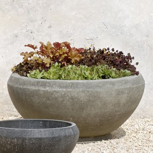 Campania International Small Giulia Cast Stone Planter Aged Limestone contemporary outdoor planters