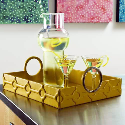 Trapunto Quilted Leather Tray in Mustard modern-serving-dishes-and-platters
