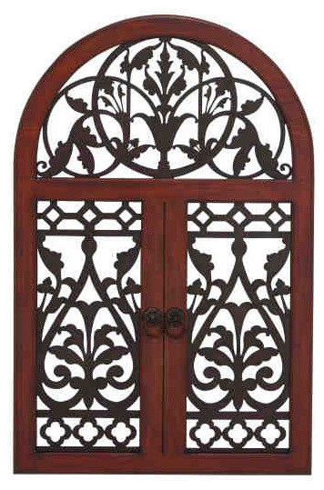 Garden window arch top wood grille eclectic artwork for Arch window decoration