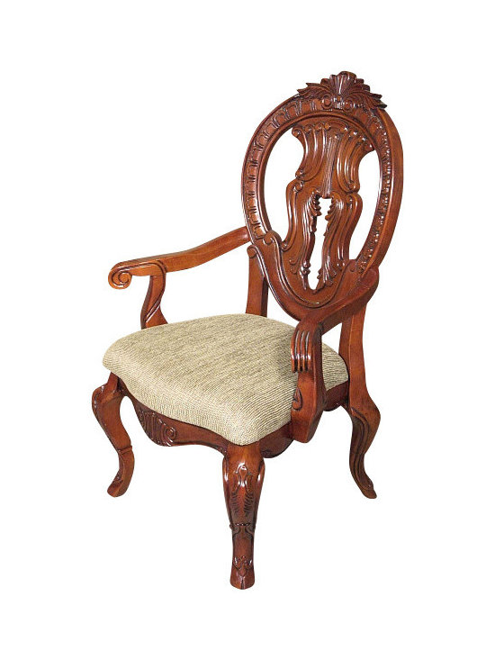 MBW Furniture - Solid Mahogany Cherry Round Back Carved Tan Occasional Arm Chair - This is a beautiful solid mahogany cherry finish tan dining arm chair. It has a solid mahogany wood frame with cherry finish that features a gorgeous carved and pierced back that is richly adorned with fancy fretwork and foliage and scroll accents, and it has distinguished cabriole legs with acanthus leaves and scrolls. The seat is very comfortable and it has beautiful textured tan fabric. This chair is a showroom model and may have some minor imperfections but as shown it is overall in very good condition. It is shipped assembled.