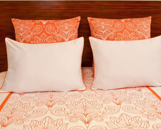 vintagemaya - SOLFERINO WHITE AND CORAL - KING DUVET AND SHAM SET (5 PIECE) - The Solferino King includes a white duvet cover and handcrafted coral with white euro sham. Inspired by Art Nouveau, the Solferino King features a floral scroll design blooming into opulent petals. Passed down through many generations, skilled artisans capture the essence of Art Nouveau with a harmonic blend of both nature and hand screen printing. The Solferino King includes two white pillow shams, trimmed in coral piping, illuminating the florets blossoming across the white duvet cover. The Solferino King also includes two decorative euro shams, hand printed with the same floral pattern with inverse coral color designs. Bring harmony of nature to luxury bedding with the Art Nouveau inspired Solferino King.