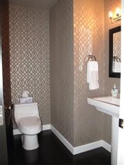 Walls In Half Bath With Imperial Trellis Pattern