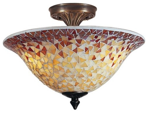 Dale Tiffany Cassidy Mosaic Flush Mount Light traditional-ceiling-lighting