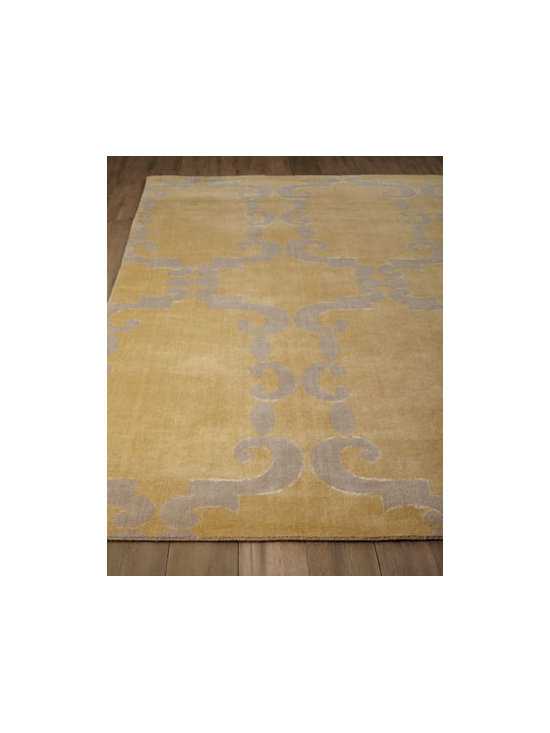 Horchow - Lasara Rug - A fusion of modern and traditional, this rug captures timelessness through color and classical architectural inspirations. Its subtle pattern and soft color add to its understated elegance. Lori-loom woven of a combination of premium wool and bamboo silk. Sizes are approximate. Imported. See
