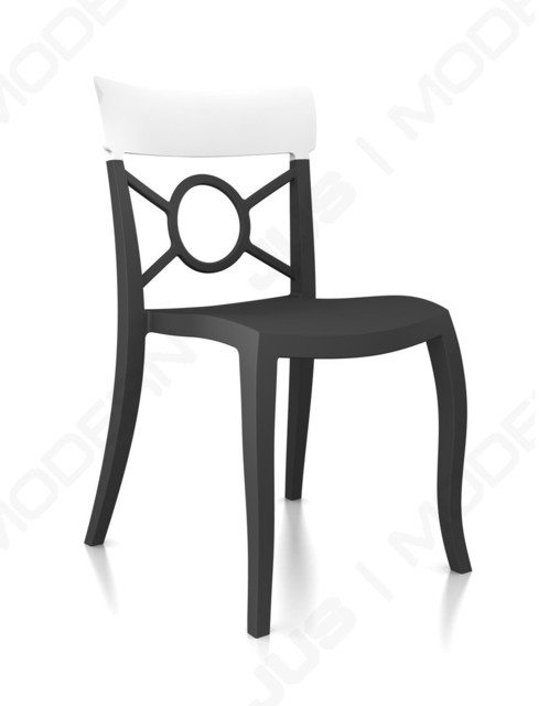 O'PERA-S Chair - Set of 4, Anthracite Frame, Solid White Back contemporary-living-room-chairs
