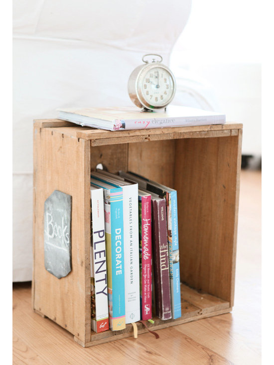 Vintage French Crate - A vintage French crate can opt as a nightstand or a side table. I love it paired with white.