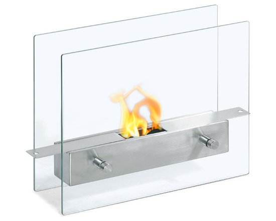 Moda Flame - Ibiza Table Top Ethanol Fireplace - The Ibiza modern ethanol personal table top fireplace is small and cute, yet sexy and sophisticated. Suitable for any table, counter, or bar, the Ibiza sits comfortably on two vertical tempered glass sheets.
