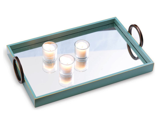 Port 68 - Drake Mirror Tray - Whether used for entertaining, serving or displaying coffee table items, the Drake Tray Sky makes a bright and functional addition to a variety of different decor. The tray features sky blue wood panels and metal circular ring handles. The dramatic, yet functional mirror top makes for an easy cleaning surface.