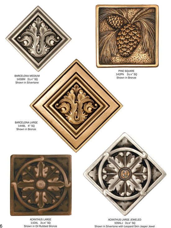 Classic Collection - metal accent tiles of solid cast bronze for use in wall, floor, indoor or outdoor installations