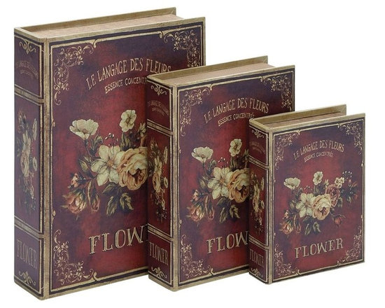 Benzara - Book Box in Flaunts Delicate Floral Patterns - Set of 3 - Elegantly designed, this Wood Book Box makes for a charming decor accent and is designed with great finesse for an attractive appeal. An ideal addition to mantelpieces, shelves or side-tables, this wood box set is a fine addition to any modern or conventional styled room setup. This elegant wood box set is designed to resemble hardback books which give it a classic, old-world appeal. Detailed with a rich red color this wood box set flaunts delicate floral patterns which elevate the design aesthetics by several notches. Crafted from premium grade wood, this wood box set features three boxes of assorted sizes with matching designs. It is also a perfect gifting option on special occasions. With the sturdy design and elegant finishing, this wood box set promises hassle-free usage and maintenance.