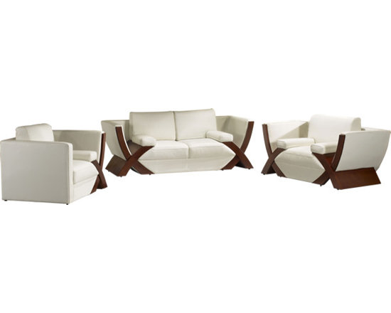Scene Furniture - Reo Sofa Set - This contemporary sofa set is hand produced with soft genuine Italian leather and is designed with a very uniquely shaped base. All guests will surely love your furniture.