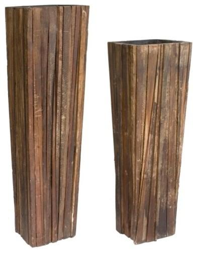 Ferpas Reclaimed Wood Planter Set Contemporary Indoor