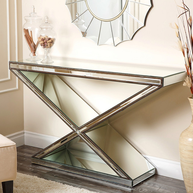 Abbyson living cosmo x shaped mirrored console table contemporary console tables by - Mirrored console table overstock ...