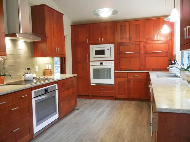 Adel Medium brown IKEA cabinet with white quartz ...