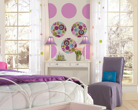"Twister-Plush Sixteen Dots Set of Wall Decals - If you're feeling mod and have a taste for the psychedelic then Twister is for you! This pack contains eight 13"" Twister Dots and eight 13"" Plush Purple Dots to coordinate. WallPops are repositionable and always removable."