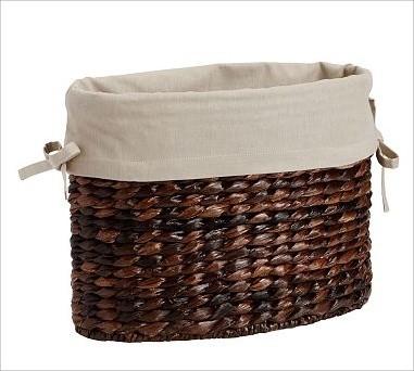 Savannah/Havana Magazine Basket Oval Basket Liner, Flax - Traditional - Baskets - by Pottery Barn