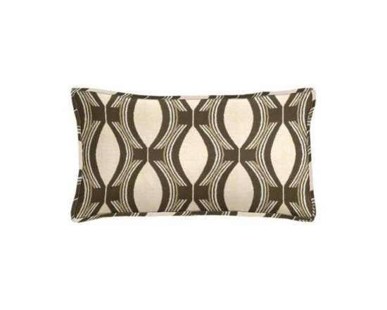 """Cushion Source - Bongo Chocolate Ogee Outdoor Lumbar Pillow - The 20"""" x 12"""" Bongo Chocolate Ogee Outdoor Lumbar Pillow features an ogee pattern in chocolate brown on a beige background."""