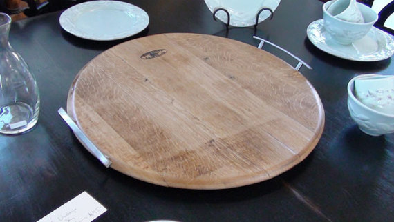 Oak Wine Barrel Head Tray, Beeswax Finish by Wine Country Artisan contemporary-platters