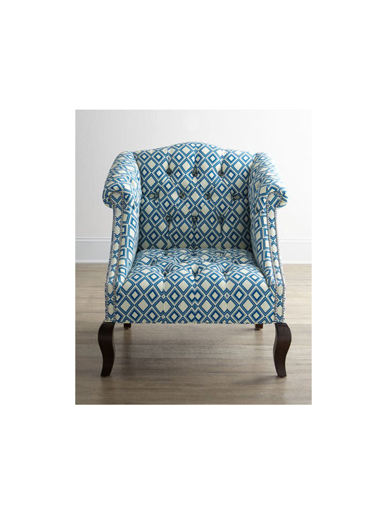 """Haute House - Haute House """"Admiral"""" Chair - Exclusively ours. Stout, no-nonsense chair takes on modern appeal with its diamond-pattened, tufted upholstery and nailhead trim on the arm panels. Alder wood frame. Hand-painted finish on legs. Polyester upholstery. 32""""W x 32""""D x 37.5""""T. Seat, 18..."""