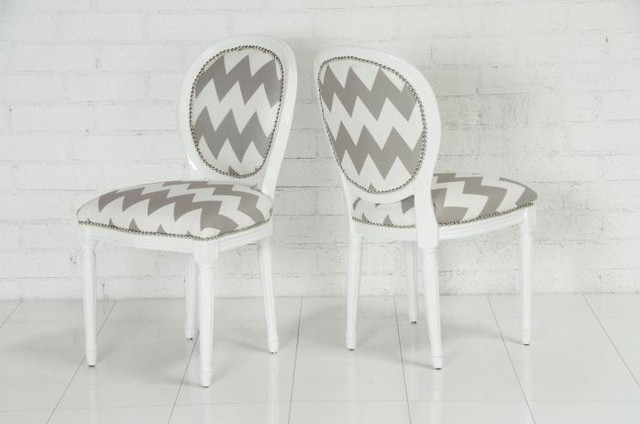 Chevron Print Louis Dining Chair contemporary dining chairs and benches