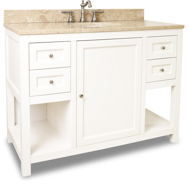 Lyn Design VAN091 48 T Light Marble Top Transitional Bathroom Vanities A