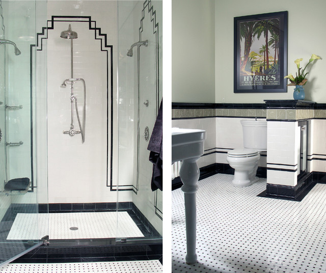 Art deco bathroom for Art deco interior design elements