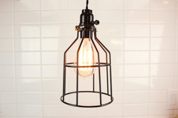 Black Industrial Cage Wire Hanging Pendant by Illuminate Vintage industrial-pendant-lighting