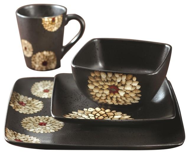 Asiana White 16 Piece Dinnerware Set contemporary-dinnerware-sets
