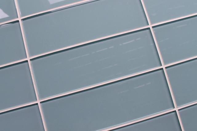 Light Blue Gray 4 X 12 Glass Subway Tile Contemporary Tile