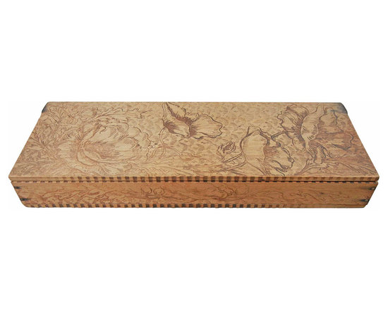 Wood Trinket Box - The floral design has been carved into the wood using a fine-tipped veining chisel. Some of the design appears to have been created by hammering a dye into the wood.