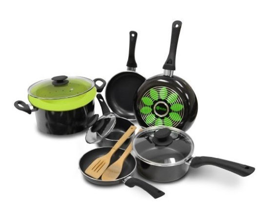 "Epoca - Artistry Cookware Set - Cook well and Do Good with this Ecolution Eco-Friendly 12 Pc. Artistry aluminum Cookware Set. Groovy rings on the bottom of the pans distribute heat evenly for optimum performance. Squeezable silicone handles always keep cool. Non-stick Hydrolon coating is an ecologically advanced water based coating that is made without PFOA for fewer greenhouse gases. Glass lids let you see what's cooking without letting heat escape. Dishwasher Safe. Set includes: 8"" Fry Pan 9-1/2"" Fry Pan 11"" Fry Pan 1 Qt. Saucepan with Glass Lid 2 Qt. Saucepan with Glass Lid 5 Qt. Dutch Oven with Glass Lid Collapsible Silicone Steamer Bamboo Spoon and Bamboo Spatula."