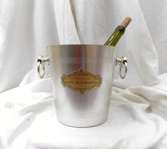 Vintage French Metal Champagne Chiller by Vintage Decor Français traditional-barware