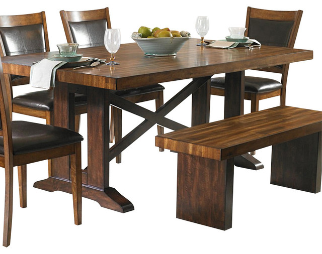 Homelegance aberdeen x trestle base dining table in warm for Traditional dining table bases