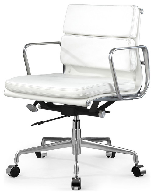 eames style soft pad office chair in white leather modern task chairs