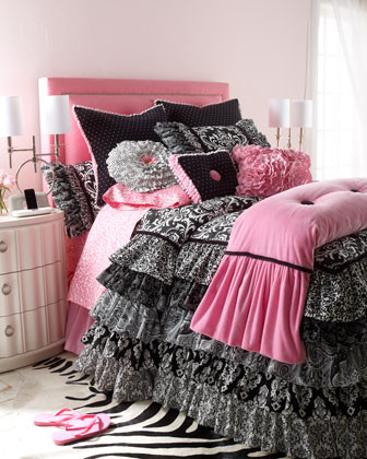 Rogue Designs Yin & Yang Bed Linens Full Pink Linen Dust Skirt traditional-bedskirts