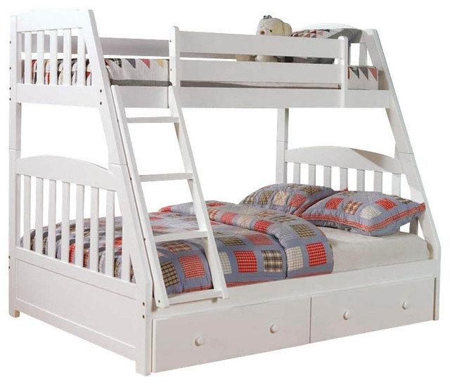 Chelsea Home Twin Over Full Mission Bunk Bed Without Underbed Storage in Whit