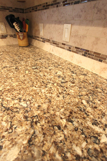 Cambria Canterbury Quartz Countertop And Tile Backsplash Traditional Kitchen Countertops