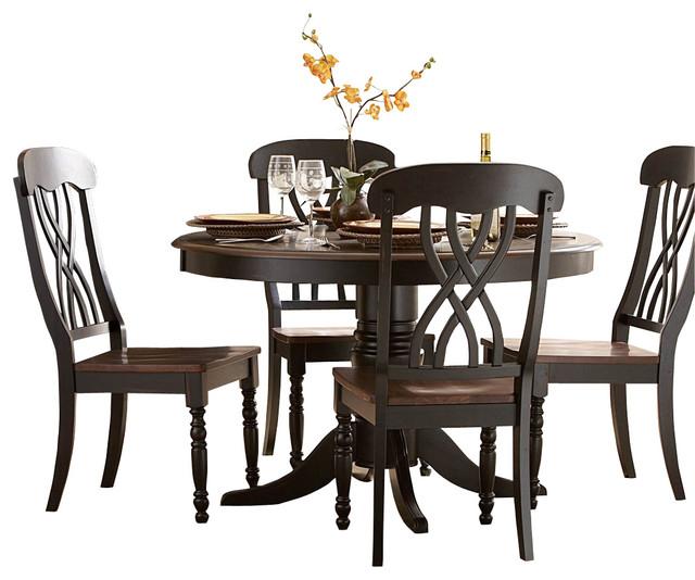 homelegance ohana 6 piece round dining room set in black