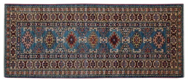 Teal Tribal Super Kazak 100% Wool Hand Knotted Oriental Rug Runner Sh15245 traditional-rugs