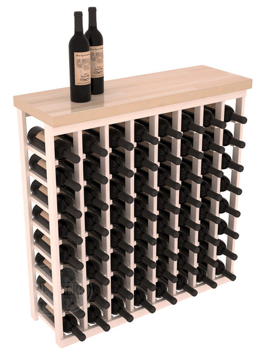 "Wine Racks America - Tasting Table Wine Rack Kit with Butcher Block Top in Pine - The quintessential wine cellar bar; this wooden wine rack is a perfect way to create discrete wine storage in shallow areas. Customize with LEDs and add a 35"" top of your choice. Granite, marble or our culinary grade Butcher's Block tops are popular methods to create intimate tasting tables. We build this rack to our industry leading standards and your satisfaction is guaranteed."