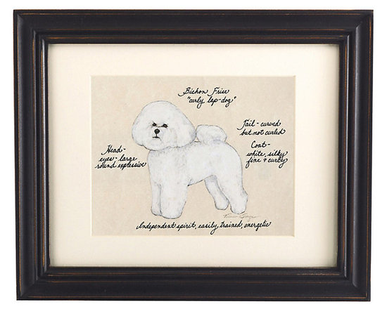 Ballard Designs - Bichon Frise Dog Print - Our Bichon Frise Dog Print was created by the dog-loving, husband and wife team of Vivienne and Sponge. The Bichon Frise is known for being a great lap dog. Each Bichon Frise portrait is hand colored and embellished with notes on the breed's special characteristics. Printed on antiqued parchment, signed by the artists and framed in antique black wood with eggshell mat and glass front. Bichon Frise Dog Print features:Hand colored & signed . Printed on parchment. Eggshell mat. Antique black frame