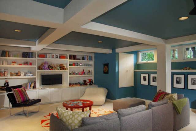Basement Boxed Celing traditional