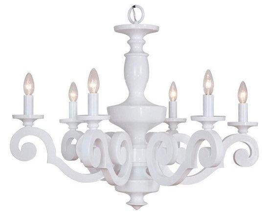 Glossy Scroll-Arm Chandelier, 6 Light, White -